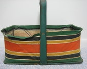 Vintage Shopping Grocery Metal Basket Canvas and Metal Frame Collapsible