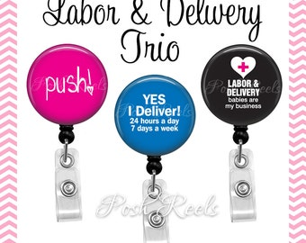 Retractable Badge Holders - Labor and Delivery Badge Reel Gift Set - L&D Nurse Badge Reels - 1017