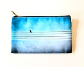 "Pencil Case/Bag Hipster Blue Pencil Case Bird On Wire 4x7"" Zippered Pouch"