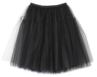 Tulle skirt black color | Grace Kelly style | 50's fashion | Knee length | party | ballerina | blogger style