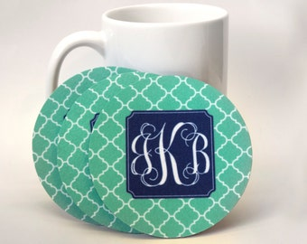 Rubber-backed fuzzy coaster set monogrammed  design your own