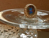 Silver Rhinestone Filigree Ring with Vintage Starburst Stone