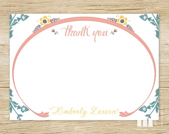 Rustic Fairytale Thank You Card - PRINTABLE - Once Upon A Time - Storybook Vintage Floral Thank You Note