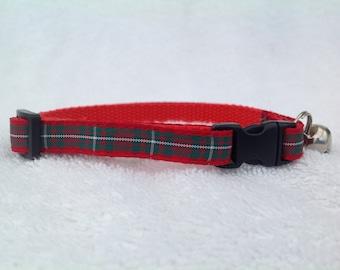 Handmade Scottish MacGregor Tartan Cat Collar