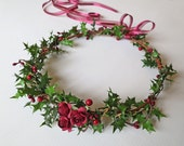 Holly Berry & Rose Crown-Christmas Hair Crown-Christmas Flower Crown-Christmas Holly Crown-Wedding Hair-Christmas Wedding