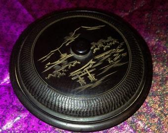 Exquisite Vintage Japanese Round Sleek Dark Wood Vanity or Trinket Box