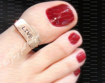 Big Toe Ring - Live - Text Copper Slider - Stretch Bead Toe Ring