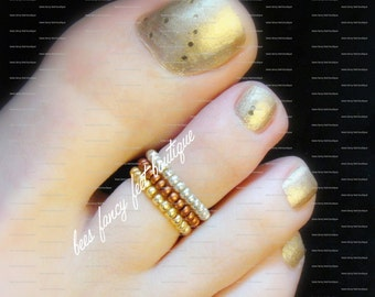 SALE - Toe Ring - Silver - Copper - Gold - Stretch Bead Toe Ring