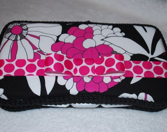 Hot Pink and Black Travel Wipes Case