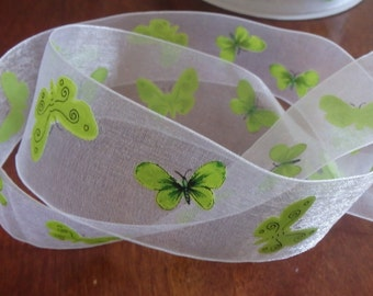 "Green butterflies 1.5"" sheer white ribbon, 5 yards (180 inches)"