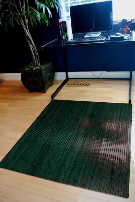 Antique Green Bamboo Chair Mat Office Floor Mat Hard By