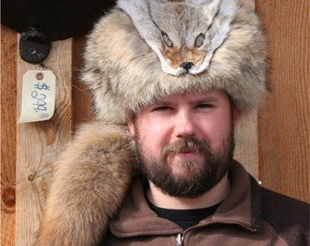 Coyote Davy Crockett Style Fur Hat