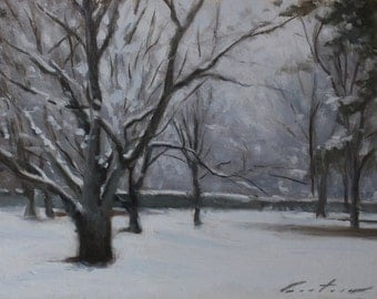 """On Sale! Winter at the Imperial Palace - 9"""" x 12"""" - oil painting on linen board"""