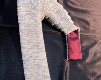 "1960's Vintage Skinny Necktie (53""/2"")- Brookline by NuWay- Light Blue/White Cream Textured, Squared Ends"