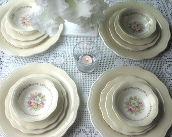 Vintage China French Saxon China Plates China  Set Floral China Pink Flowers Gold   Dinnerware Antique China  Wedding Dishes
