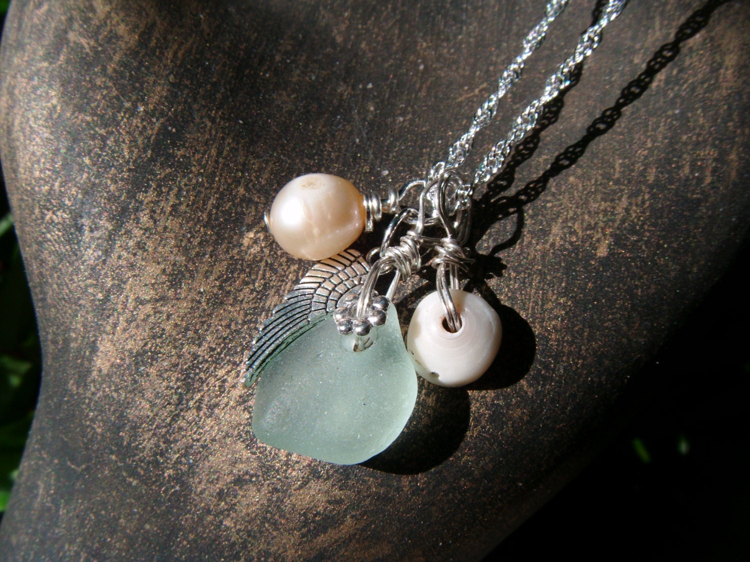 Maui Seaglass And Pearl Keepsake Necklace On 925 Sterling