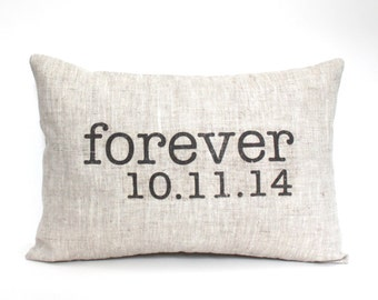 """wedding gift, engagement pillow, date pillow, anniversary gift, wedding shower gift, valentine - """"The Forever"""""""