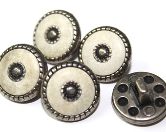 20 White and Metal Buttons for Sewing and Crafts