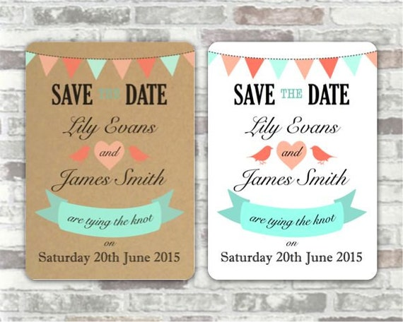 Print your own personalised SAVE THE DATE wedding postcard printables - mint & peach bunting with love birds and heart
