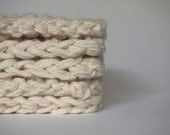 hand knit plushy cotton scrubbies in ecru or linen white