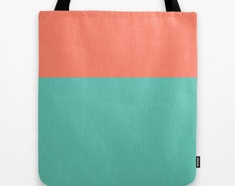 Green and peach canvas tote bag