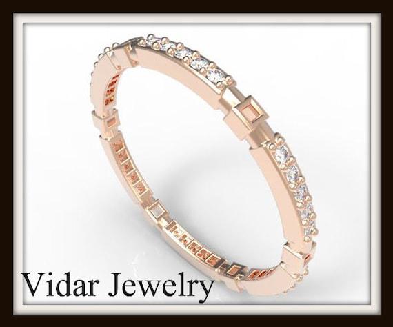 Rose Gold Diamond Micro Pave Wedding BandUnique Ring