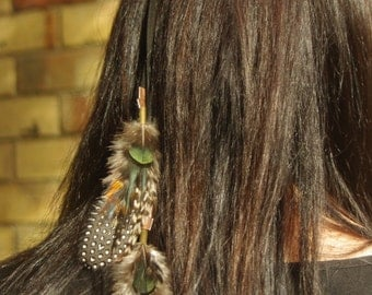 Unique Tribal warrior feather head band hair extension necklace with cruelty free feathers black faux suede