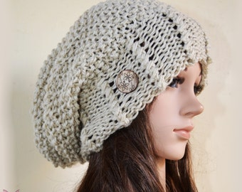 Slouchy beanie hat with buttons - LINEN grey (Or Choose Color) - Oversized - chunky - vegan friendly - baggy - slouch - gift