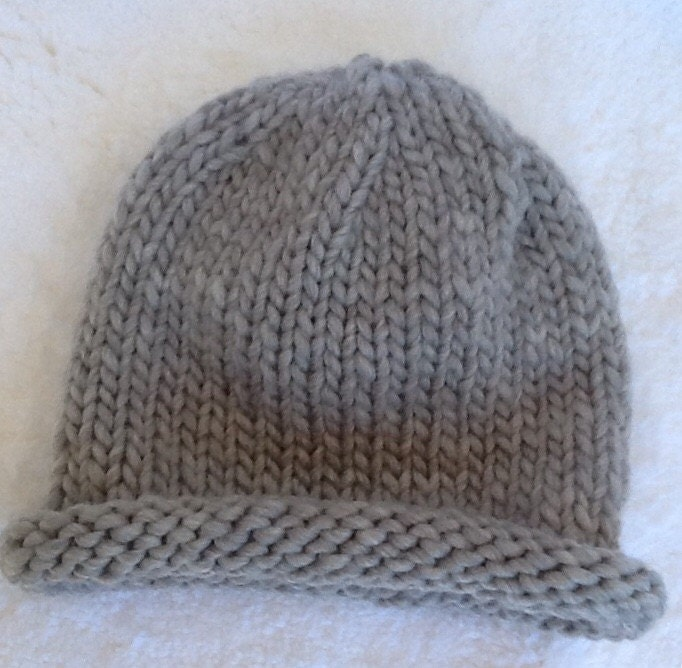 Knitting Pattern For Rolled Brim Baby Hat : Hand knit childs rolled brim hat