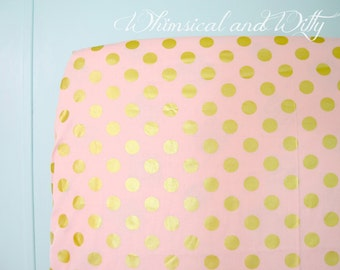 Pink and Gold Polka Dot Baby Bedding - Crib Sheet, Changing Pad Cover
