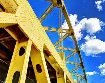 Downtown Pittsburgh Bridge Photo, HDR photograph, yellow and blue, fine photography prints, One Cerulean Day