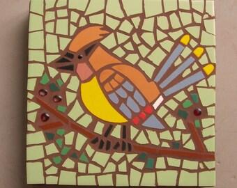 """Exterior tile mosaic garden stone, """"Cedar Waxwing"""", 12"""" square, exterior tile, bird mosaic, green, yellow, red, garden art"""
