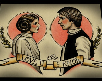 Princess Leia and Han Solo Tattoo Art Print