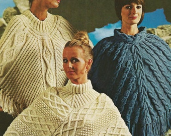 Ladies Aran Poncho Knitting Patterns - 3 designs - PDF Aran knitting pattern