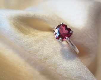 Petite Red Natural Topaz Heart Size Seven Ring