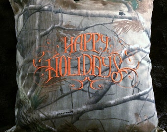 Happy Holidays hunting camo and orange pillow cover