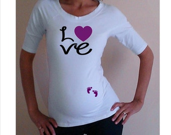 "Maternity Shirt ""Love"" with footprints Perfect for valentine's day or everyday use, short  or 3/4 sleeves"