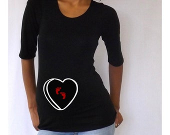 Valentines maternity Shirt conversation heart with footprints Perfect for valentine's day or everyday use, 3/4 sleeves