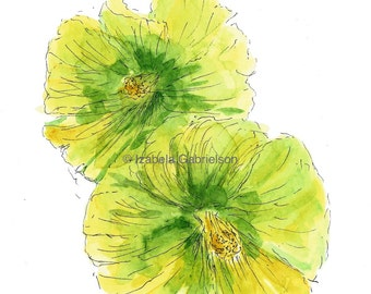 Yellow Hollyhock / Greeting Card