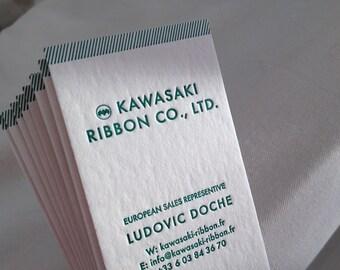 100 Letterpress Business Cards - 1 color 1 side - Wil paper 450 gms