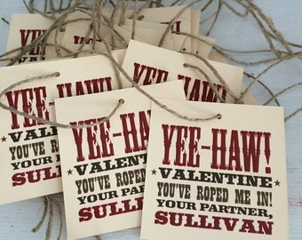 Valentine's Day. Kids Valentines. PRINTABLE Valentine Tags - Cowboy or Cowgirl