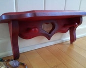 Hand Painted Royal Red, Sparkle Purple OMBRE Solid OAK Wood Heart Peg Shelf Jewelry Storage Organizer Hooks GIFT Girls Bedroom Decor Sparkly