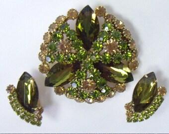 HOBE Amber & Peridot Topaz Rhinestone Brooch Pin Earring Set Large Olive Navette Accents