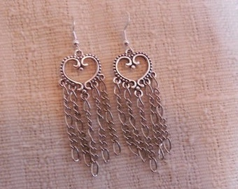 Heart shaped earrings handmade with chain accents in silvers