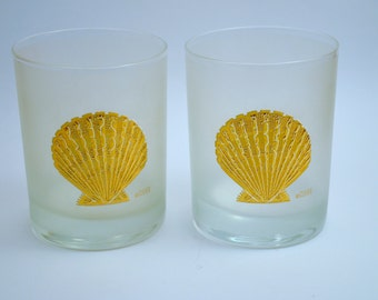 Two (2) Vintage 1960's Frosted Culver 22 K Gold encrusted Seashell On the Rocks Glasses