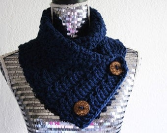 Navy Blue Chunky Scarf Crochet Knit Cowl Neckwarmer Cowl with Wood Buttons, Ready to Ship