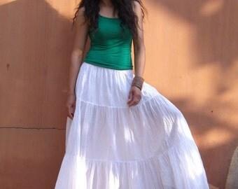 Long Skirt..Long Boho Skirt ....Long Maxi Skirt ..Full Length Skirt...Color White