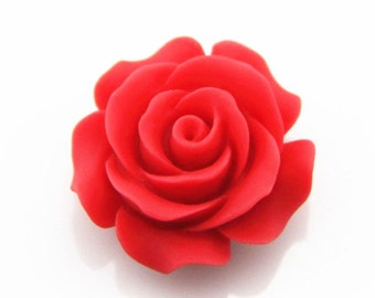 6 pcs of resin rose w/hole 28mm diameter-RC0283-40-matte red