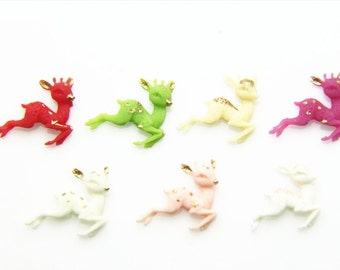 14pcs of tinny deer with gold  hand paint resin cobochon -20x15mm  -0522-mix color