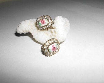 Vintage rose buds and rhinestones earrings twist on back